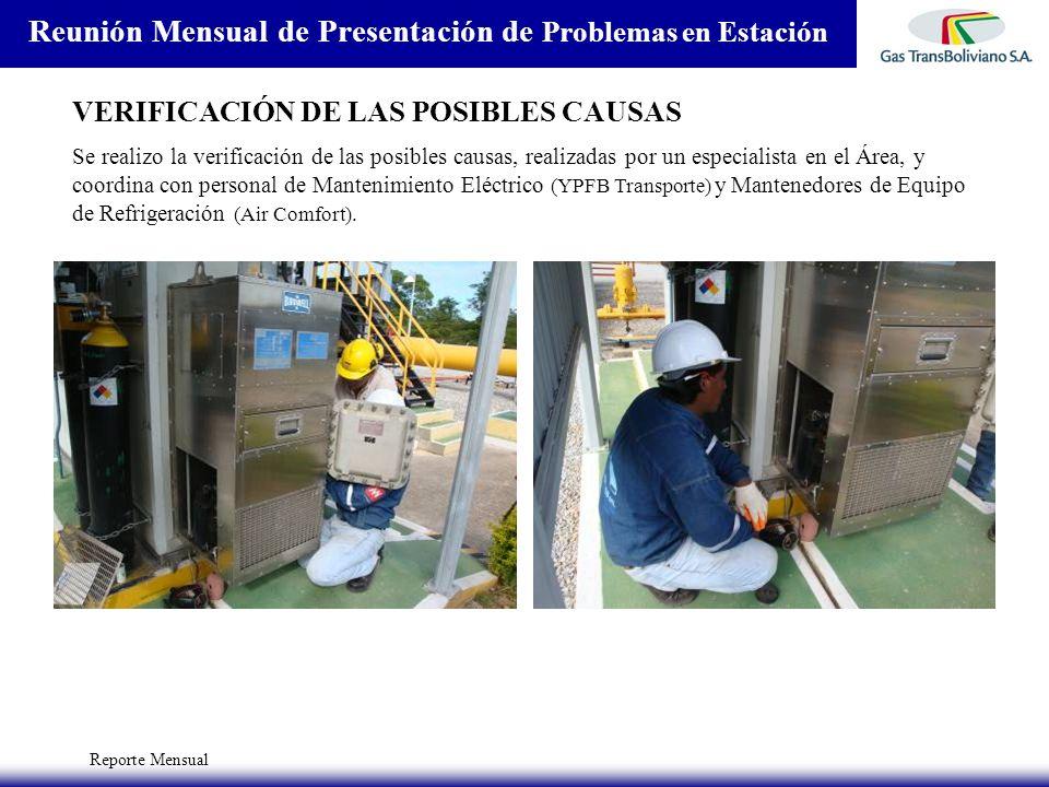 Reporte Mensual Reunión Mensual de Presentación de Problemas en Estación VERIFICACIÓN DE LAS POSIBLES CAUSAS Se realizo la verificación de las posible