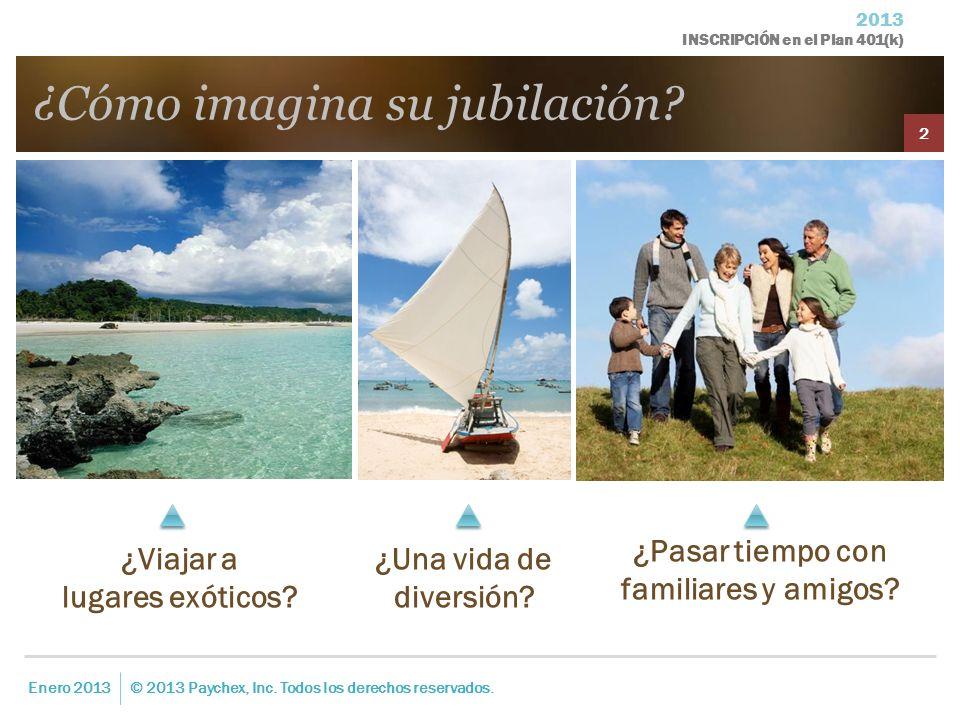 2013 INSCRIPCIÓN en el Plan 401(k) ¿Cómo imagina su jubilación? Enero 2013© 2013 Paychex, Inc. Todos los derechos reservados. 2 ¿Viajar a lugares exót