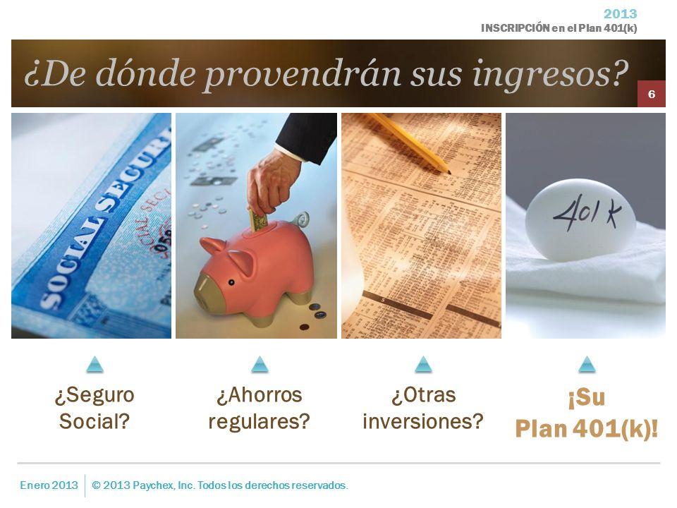 2013 INSCRIPCIÓN en el Plan 401(k) ¿De dónde provendrán sus ingresos? Enero 2013© 2013 Paychex, Inc. Todos los derechos reservados. 6 ¿Seguro Social?