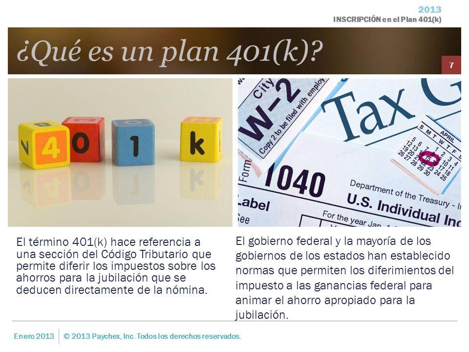 2013 INSCRIPCIÓN en el Plan 401(k) El término 401(k) hace referencia a una sección del Código Tributario que permite diferir los impuestos sobre los a