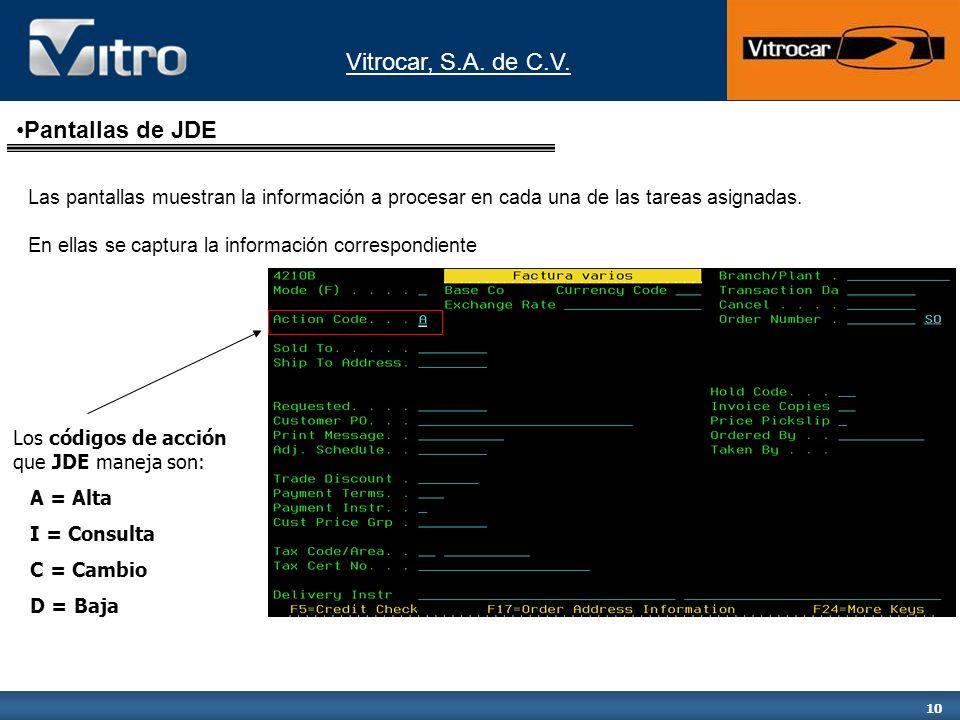 Vitrocar, S.A. de C.V. 10 Los códigos de acción que JDE maneja son: A = Alta I = Consulta C = Cambio D = Baja Las pantallas muestran la información a