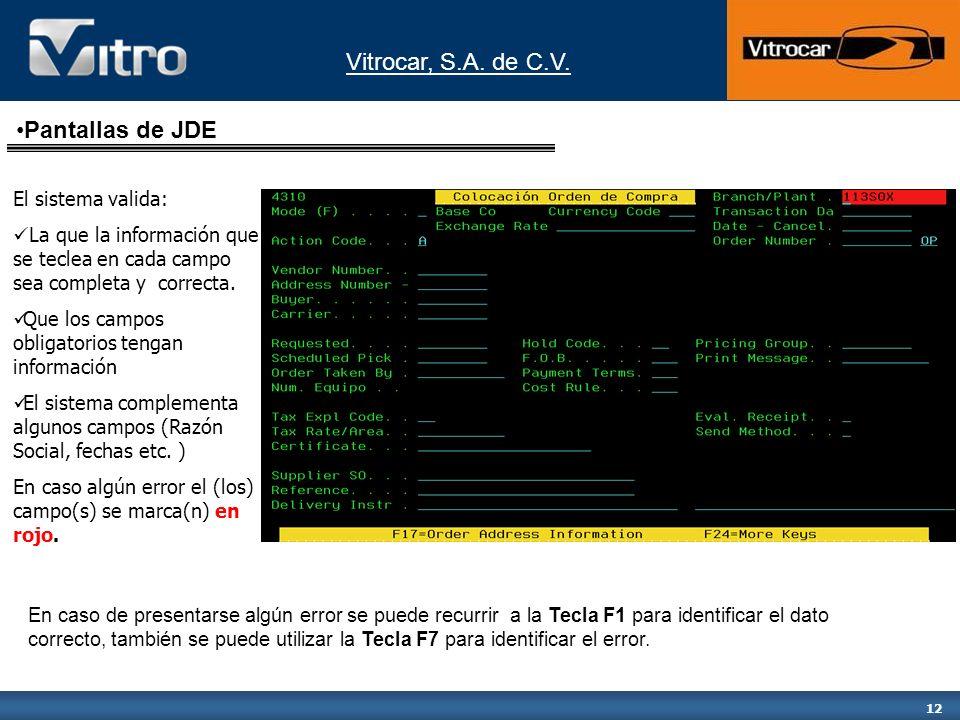 Vitrocar, S.A. de C.V. 12 El sistema valida: La que la información que se teclea en cada campo sea completa y correcta. Que los campos obligatorios te