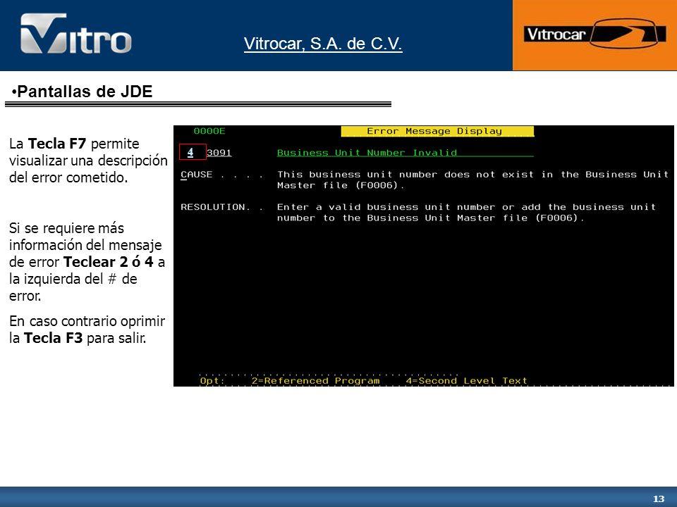 Vitrocar, S.A. de C.V. 13 La Tecla F7 permite visualizar una descripción del error cometido. Si se requiere más información del mensaje de error Tecle