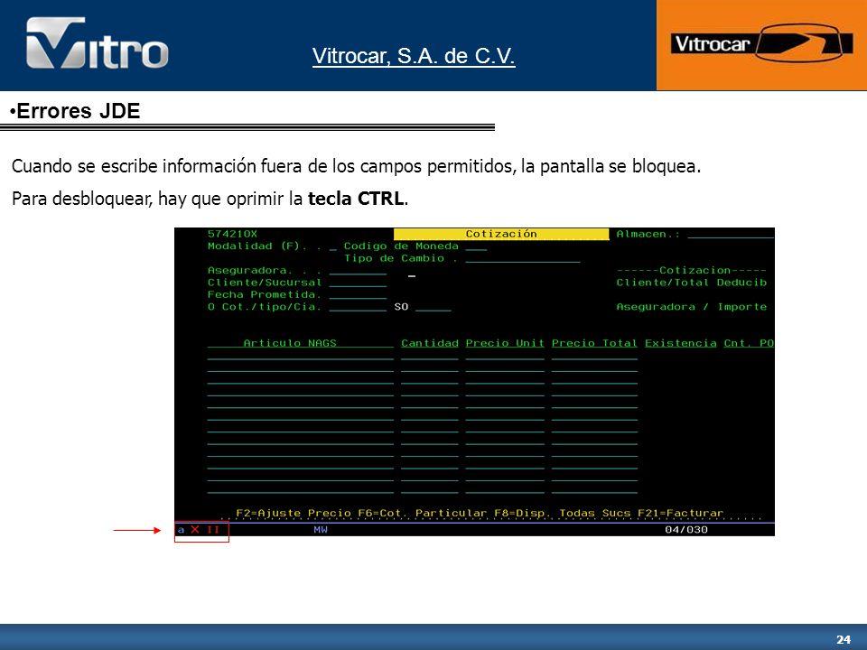 Vitrocar, S.A. de C.V. 24 Cuando se escribe información fuera de los campos permitidos, la pantalla se bloquea. Para desbloquear, hay que oprimir la t