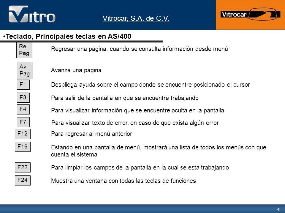 Vitrocar, S.A. de C.V. 4 Re Pag Regresar una página, cuando se consulta información desde menú Av Pag Avanza una página F1 F3 F4 F7 F12 F16 F22 F24 De