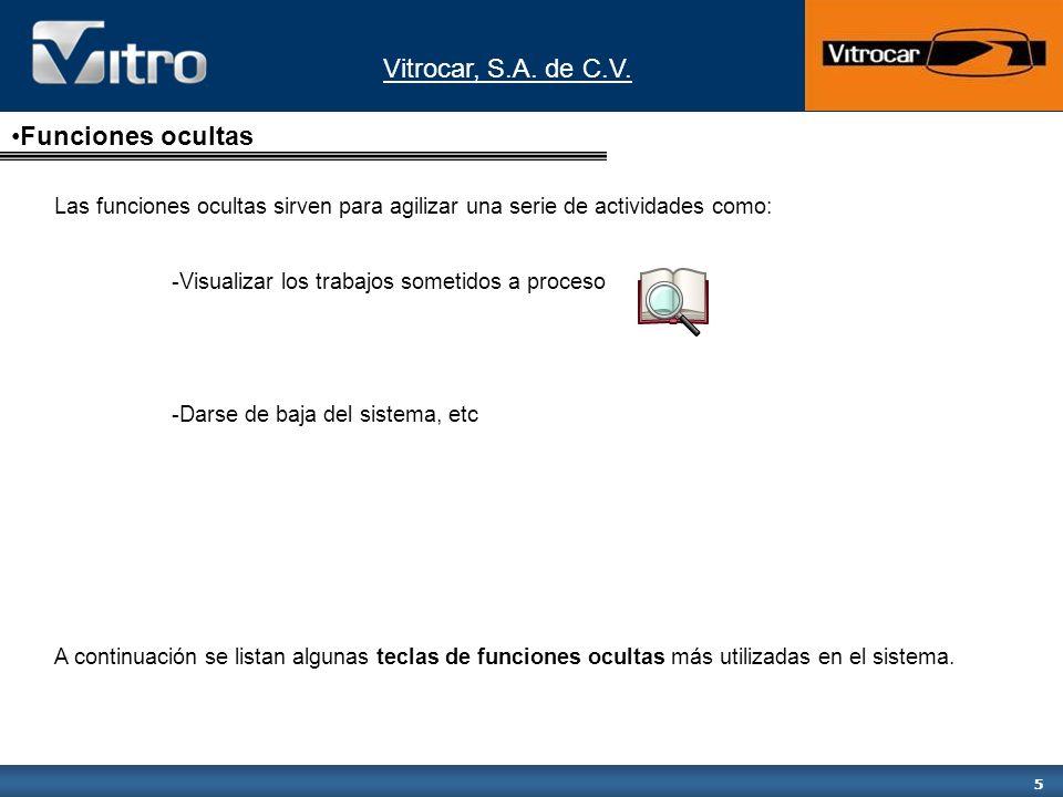 Vitrocar, S.A. de C.V. 5 Funciones ocultas Las funciones ocultas sirven para agilizar una serie de actividades como: -Visualizar los trabajos sometido
