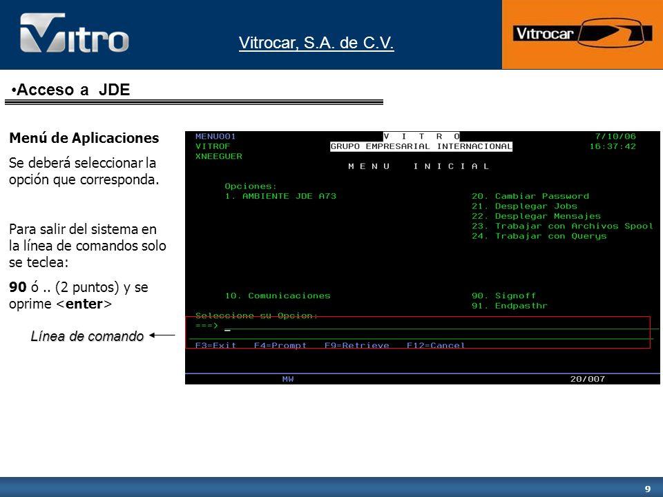 Vitrocar, S.A. de C.V. 9 Menú de Aplicaciones Se deberá seleccionar la opción que corresponda. Para salir del sistema en la línea de comandos solo se