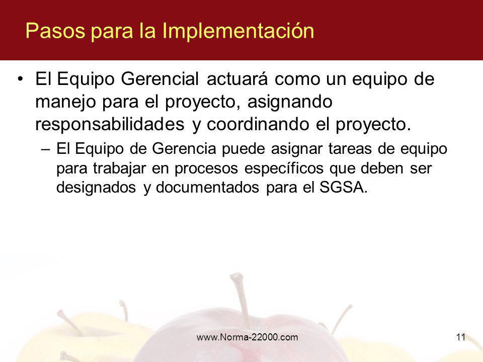 www.Norma-22000.com11 El Equipo Gerencial actuará como un equipo de manejo para el proyecto, asignando responsabilidades y coordinando el proyecto. –E