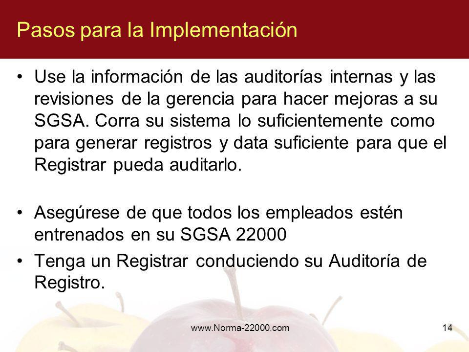 www.Norma-22000.com14 Use la información de las auditorías internas y las revisiones de la gerencia para hacer mejoras a su SGSA. Corra su sistema lo