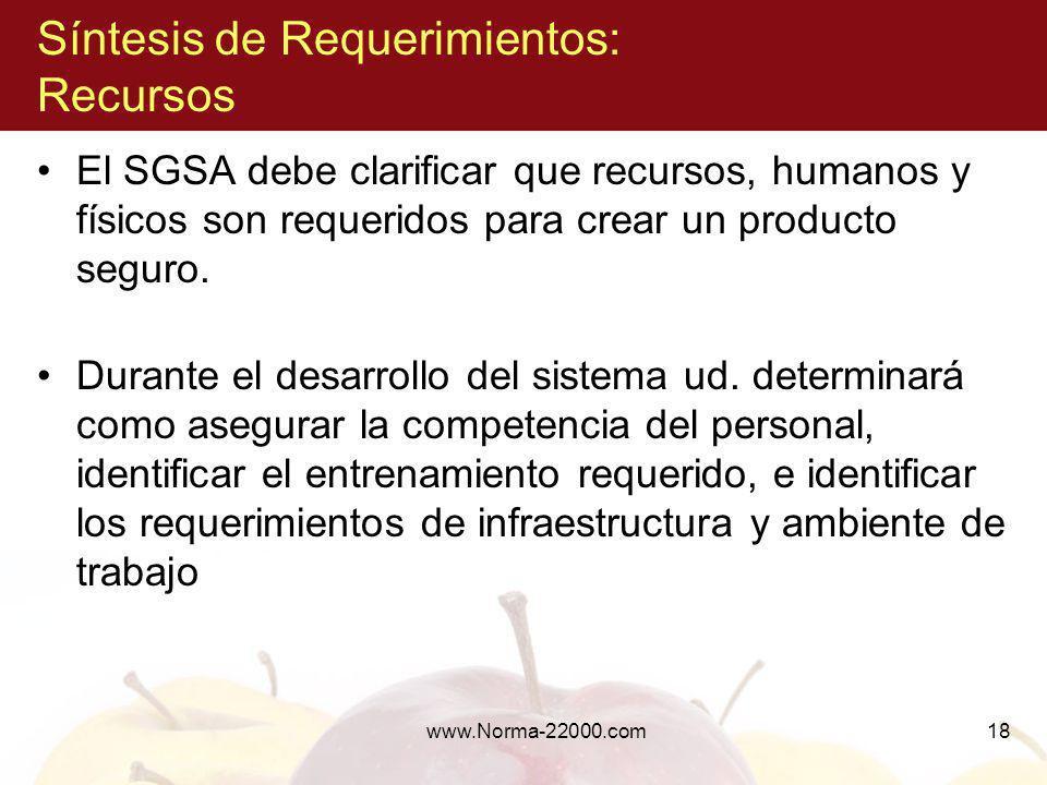 www.Norma-22000.com18 Síntesis de Requerimientos: Recursos El SGSA debe clarificar que recursos, humanos y físicos son requeridos para crear un produc
