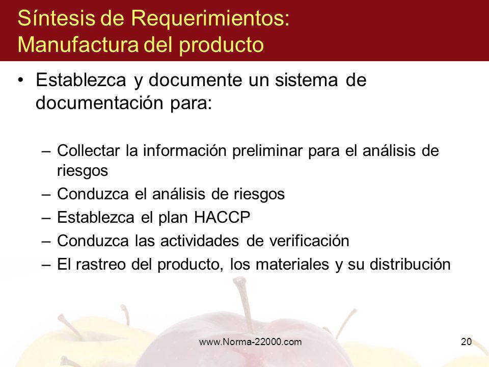 www.Norma-22000.com20 Síntesis de Requerimientos: Manufactura del producto Establezca y documente un sistema de documentación para: –Collectar la info