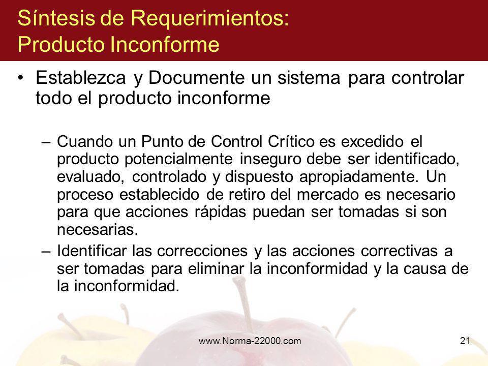 www.Norma-22000.com21 Síntesis de Requerimientos: Producto Inconforme Establezca y Documente un sistema para controlar todo el producto inconforme –Cu