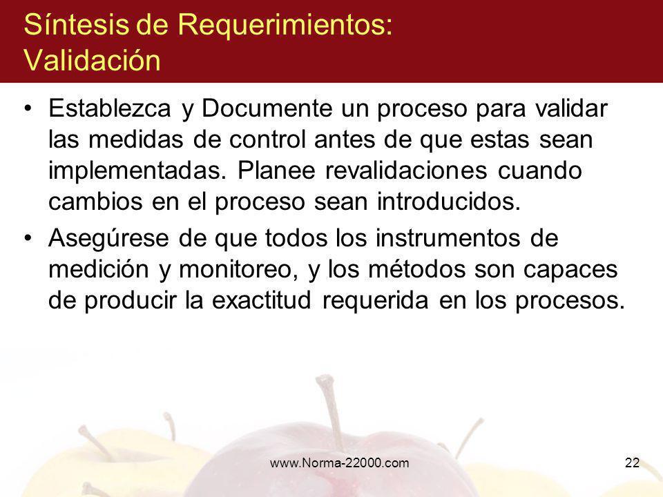 www.Norma-22000.com22 Síntesis de Requerimientos: Validación Establezca y Documente un proceso para validar las medidas de control antes de que estas