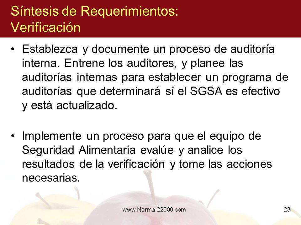 www.Norma-22000.com23 Síntesis de Requerimientos: Verificación Establezca y documente un proceso de auditoría interna. Entrene los auditores, y planee