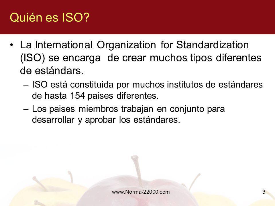 3 Quién es ISO? La International Organization for Standardization (ISO) se encarga de crear muchos tipos diferentes de estándars. –ISO está constituid