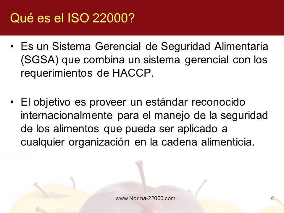 www.Norma-22000.com4 Qué es el ISO 22000? Es un Sistema Gerencial de Seguridad Alimentaria (SGSA) que combina un sistema gerencial con los requerimien