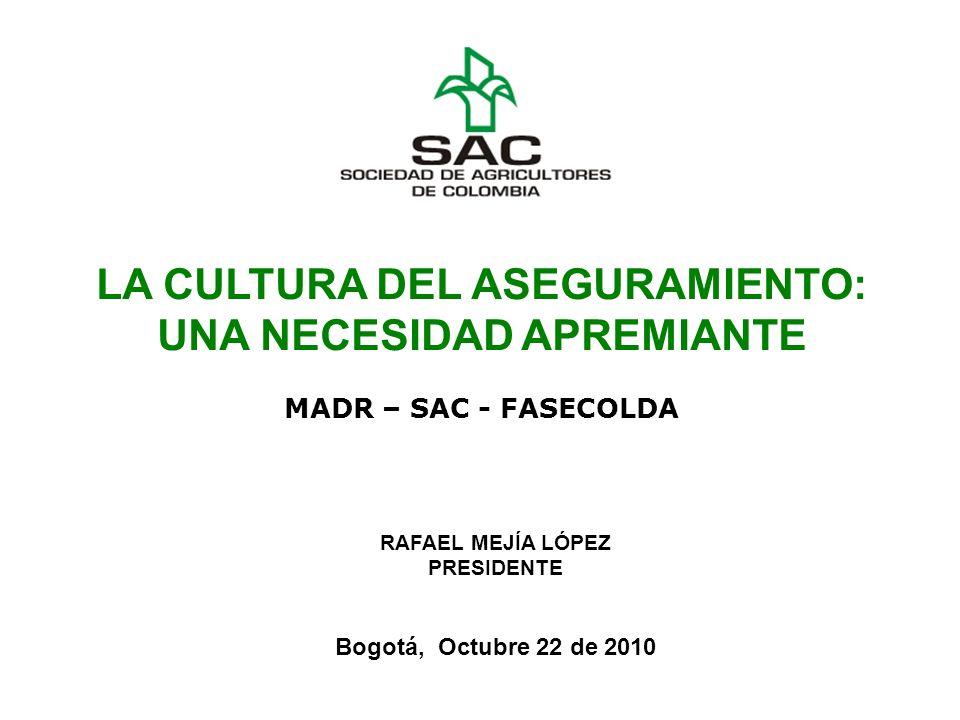 LA CULTURA DEL ASEGURAMIENTO: UNA NECESIDAD APREMIANTE MADR – SAC - FASECOLDA RAFAEL MEJÍA LÓPEZ PRESIDENTE Bogotá, Octubre 22 de 2010