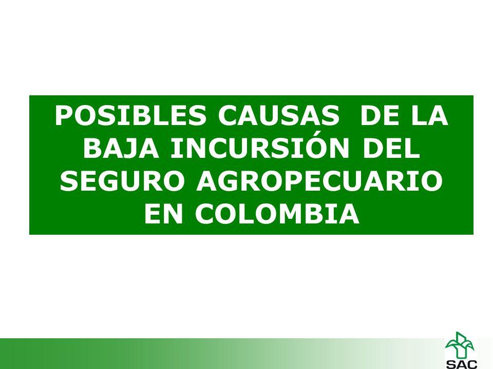 POSIBLES CAUSAS DE LA BAJA INCURSIÓN DEL SEGURO AGROPECUARIO EN COLOMBIA