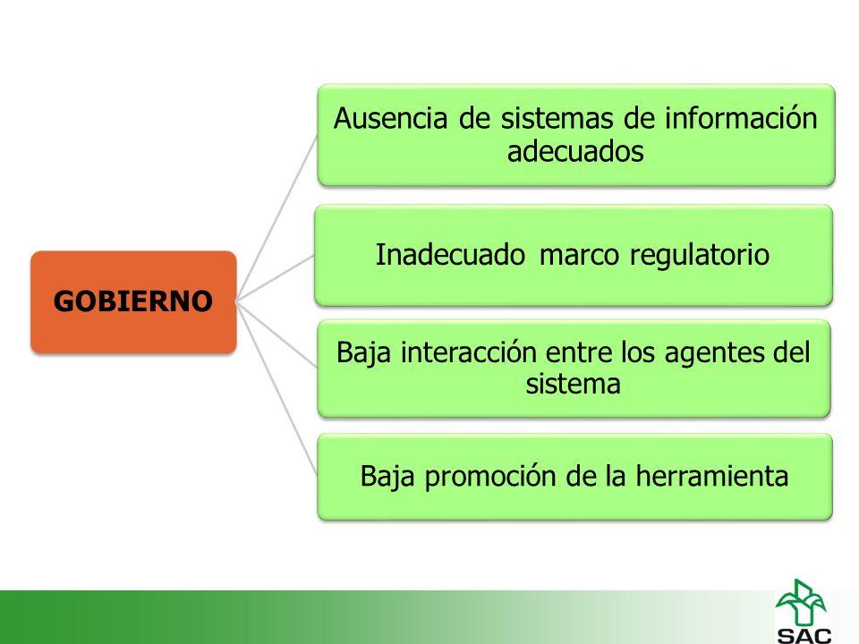 GOBIERNO Ausencia de sistemas de información adecuados Inadecuado marco regulatorio Baja interacción entre los agentes del sistema Baja promoción de la herramienta