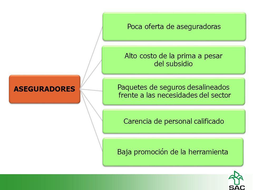 ASEGURADORESPoca oferta de aseguradoras Alto costo de la prima a pesar del subsidio Paquetes de seguros desalineados frente a las necesidades del sector Carencia de personal calificado Baja promoción de la herramienta