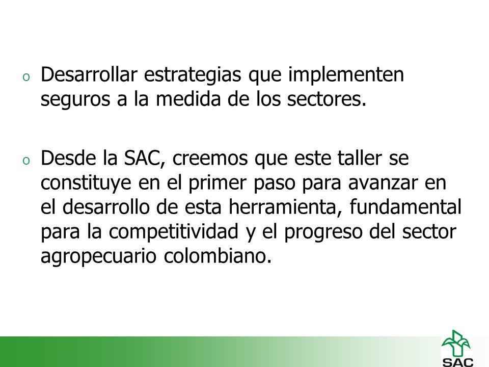 o Desarrollar estrategias que implementen seguros a la medida de los sectores.