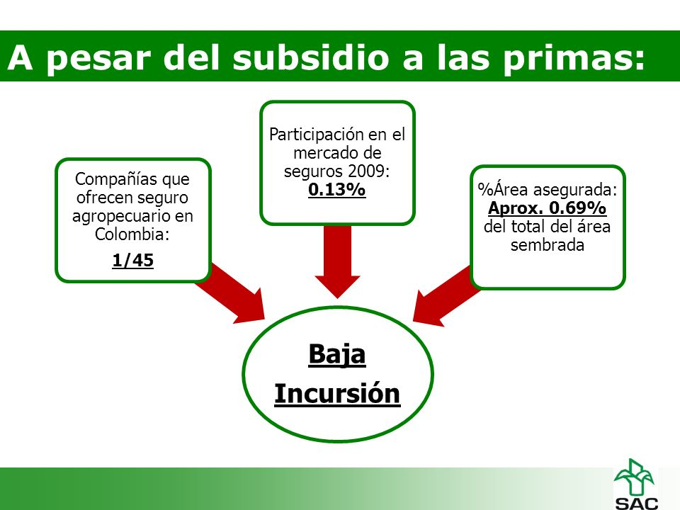A pesar del subsidio a las primas: Baja Incursión Compañías que ofrecen seguro agropecuario en Colombia: 1/45 Participación en el mercado de seguros 2009: 0.13% %Área asegurada: Aprox.