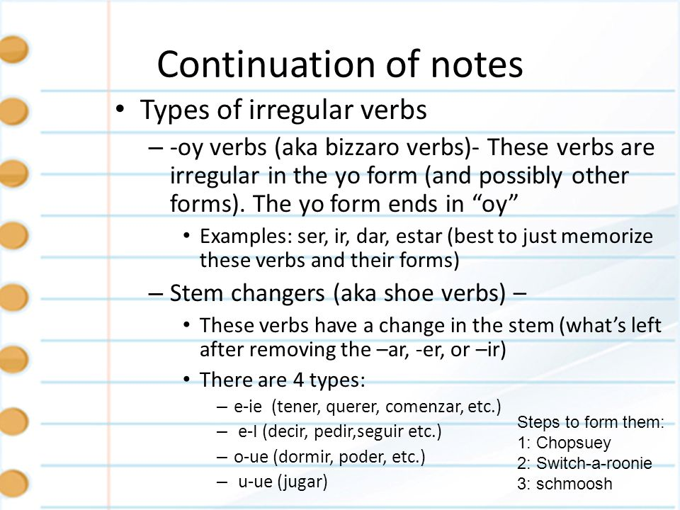 Continuation of notes – -go verbs (aka sneaky G verbs) – These verbs are irregular in the yo form (and possibly other forms).