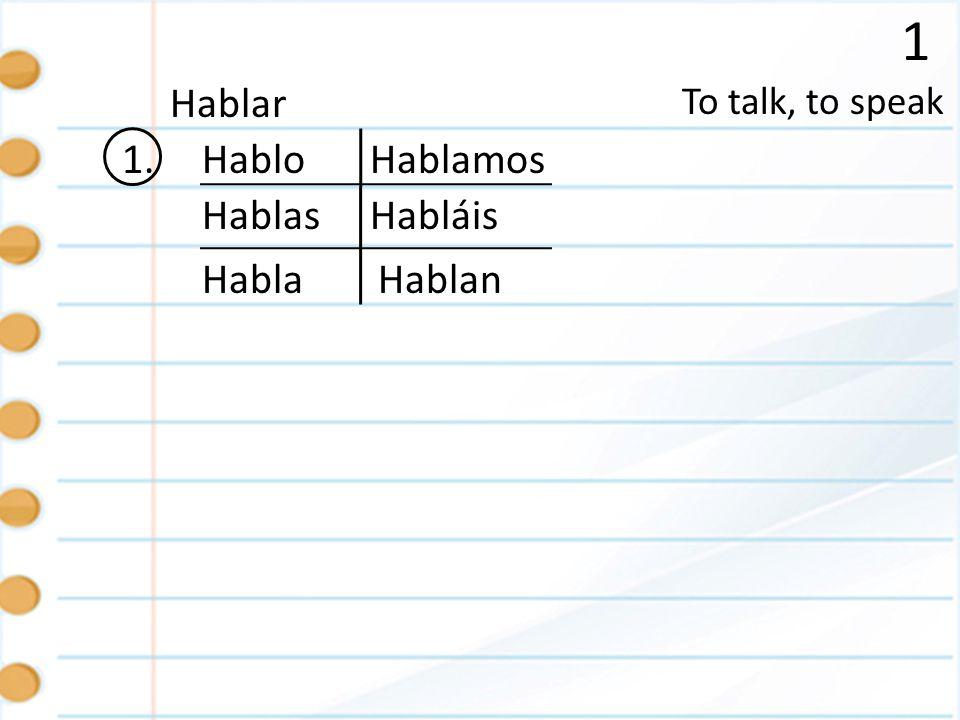 1 1. To talk, to speak Hablar Hablo Hablas Habla Hablamos Hablan Habláis
