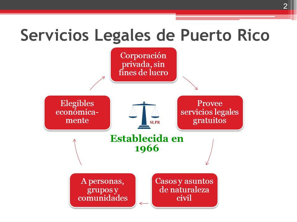 Corporación privada, sin fines de lucro Provee servicios legales gratuitos Casos y asuntos de naturaleza civil A personas, grupos y comunidades Elegib