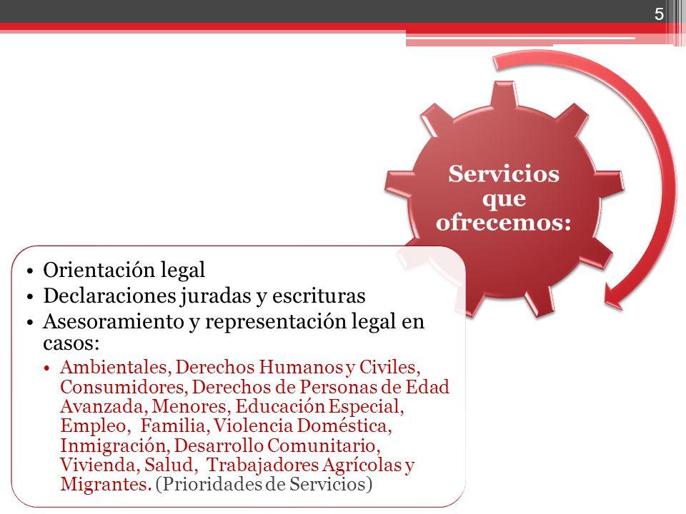 5 Servicios que ofrecemos: Orientación legal Declaraciones juradas y escrituras Asesoramiento y representación legal en casos: Ambientales, Derechos H