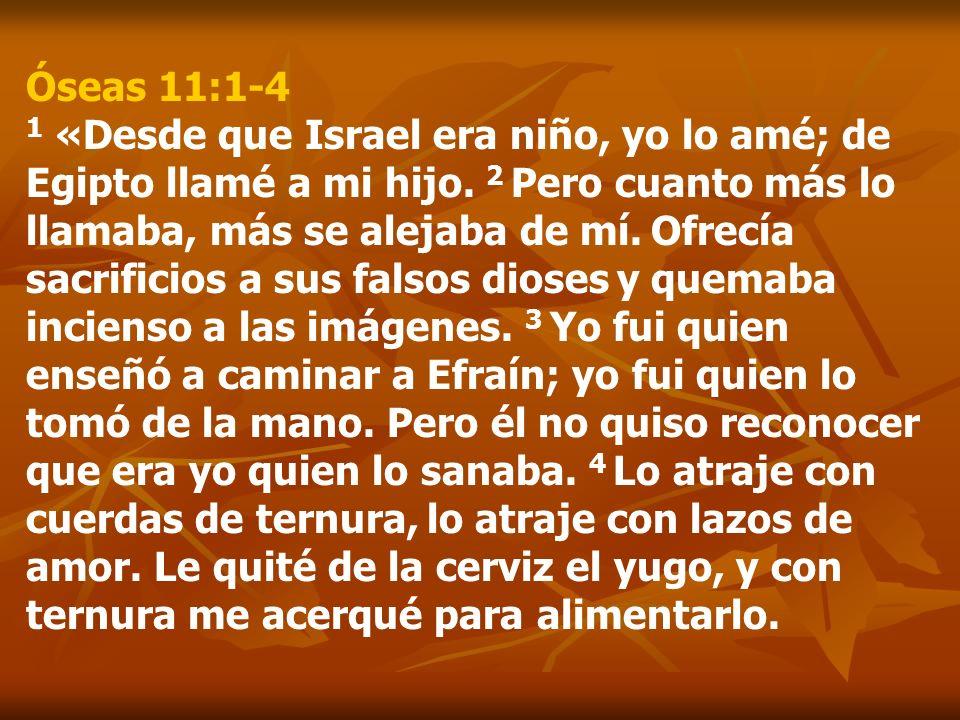Óseas 11:1-4 1 «Desde que Israel era niño, yo lo amé; de Egipto llamé a mi hijo. 2 Pero cuanto más lo llamaba, más se alejaba de mí. Ofrecía sacrifici