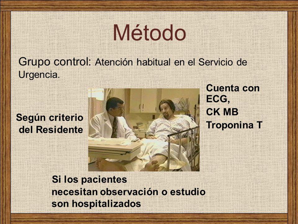 Grupo control: Atención habitual en el Servicio de Urgencia. Método Cuenta con ECG, CK MB Troponina T Según criterio del Residente Si los pacientes ne