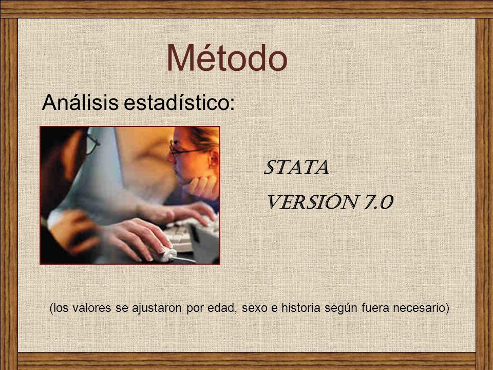 Método Análisis estadístico: Stata versión 7.0 (los valores se ajustaron por edad, sexo e historia según fuera necesario)