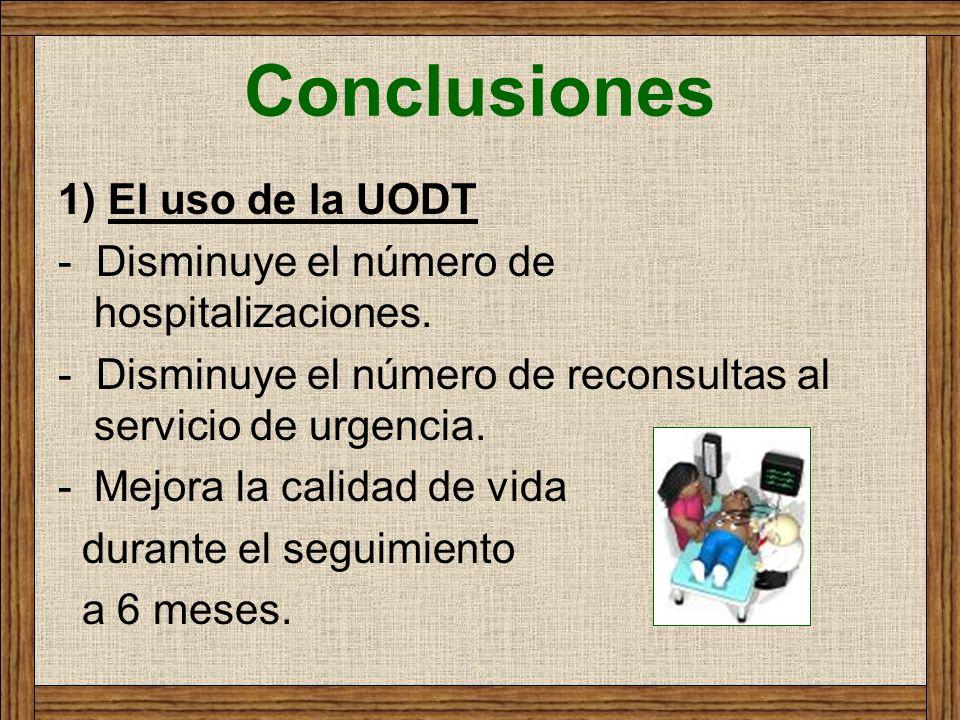 Conclusiones 1) El uso de la UODT - Disminuye el número de hospitalizaciones. - Disminuye el número de reconsultas al servicio de urgencia. -Mejora la