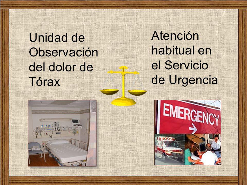 Atención habitual en el Servicio de Urgencia Unidad de Observación del dolor de Tórax