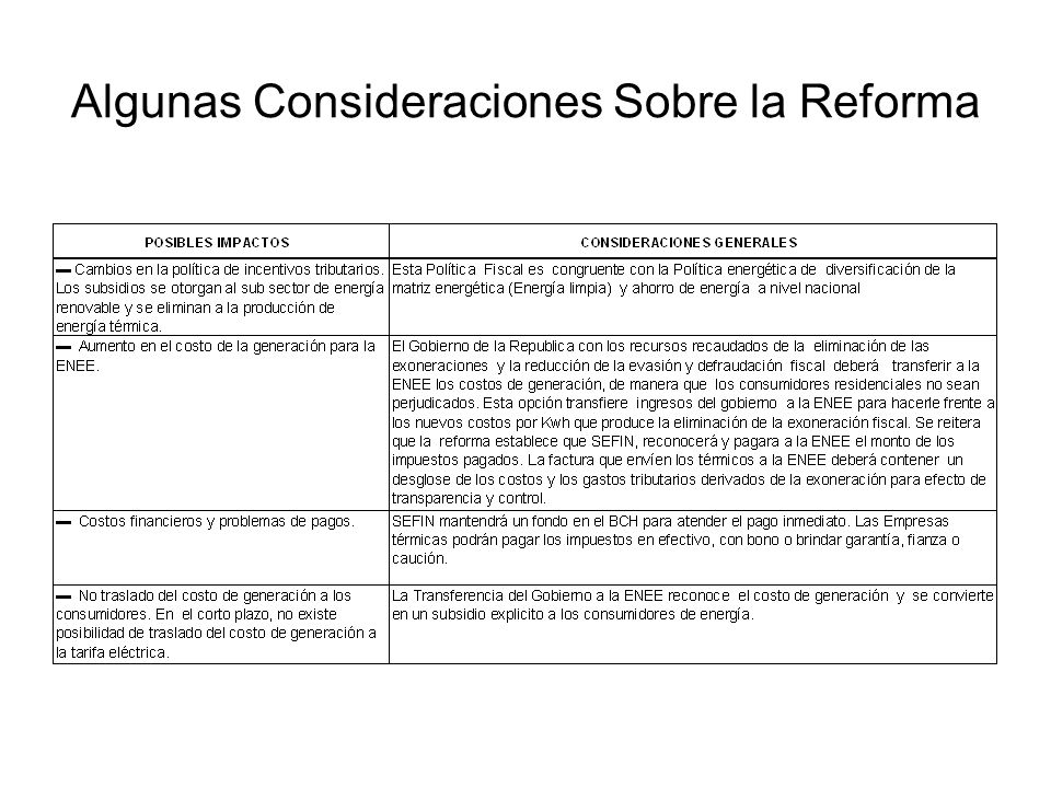 Algunas Consideraciones Sobre la Reforma