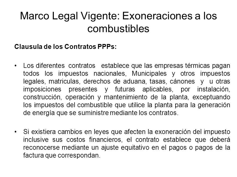 Marco Legal Vigente: Exoneraciones a los combustibles Clausula de los Contratos PPPs: Los diferentes contratos establece que las empresas térmicas pag