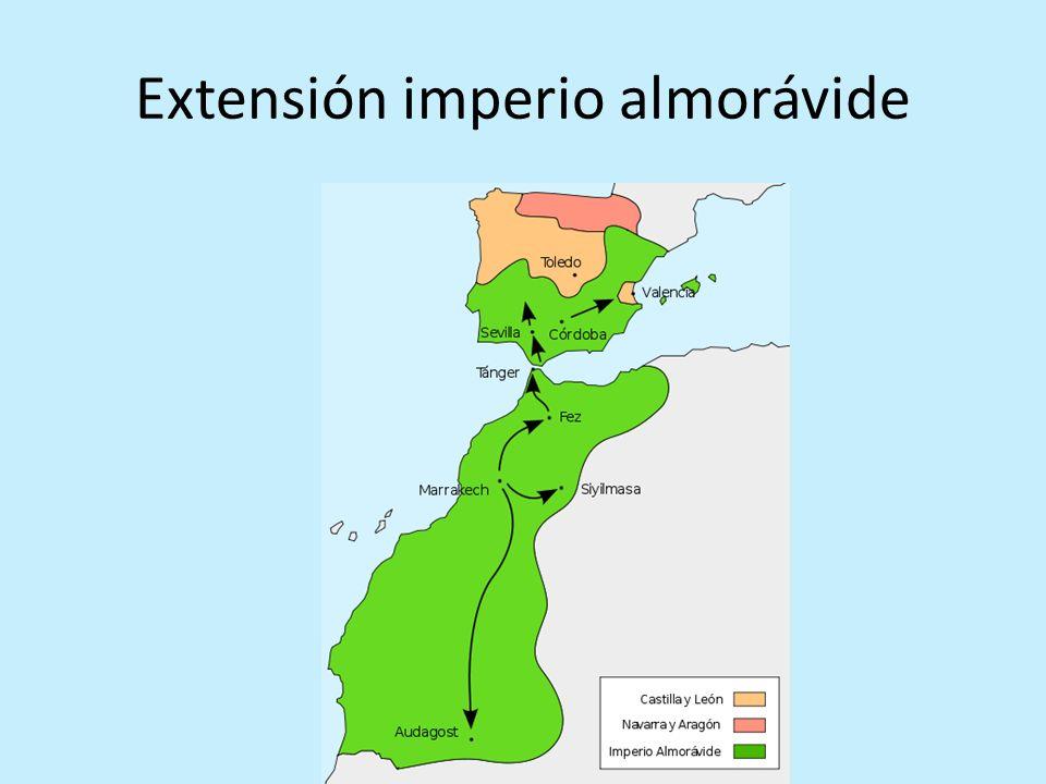 Travesías de Yusuf ibn Tashfin a al-Andalus 1085 Conquista de Toledo 1086 primera llamada – victoria en la batalla de Zallaqa 1088 segunda llamada – Sitio frustrado a la fortaleza de Aledo 1090 comienzo de la conquista almorávide Sept.