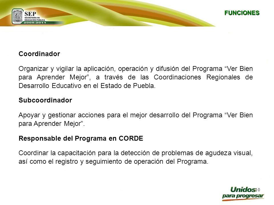 10 Coordinador Organizar y vigilar la aplicación, operación y difusión del Programa Ver Bien para Aprender Mejor, a través de las Coordinaciones Regio