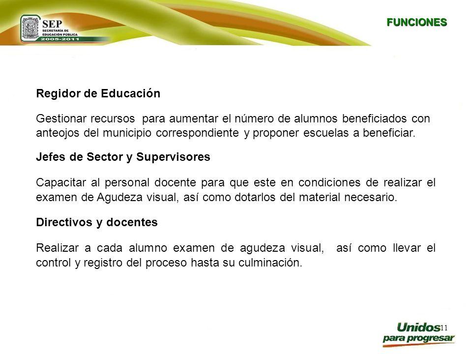 11 FUNCIONES Regidor de Educación Gestionar recursos para aumentar el número de alumnos beneficiados con anteojos del municipio correspondiente y prop