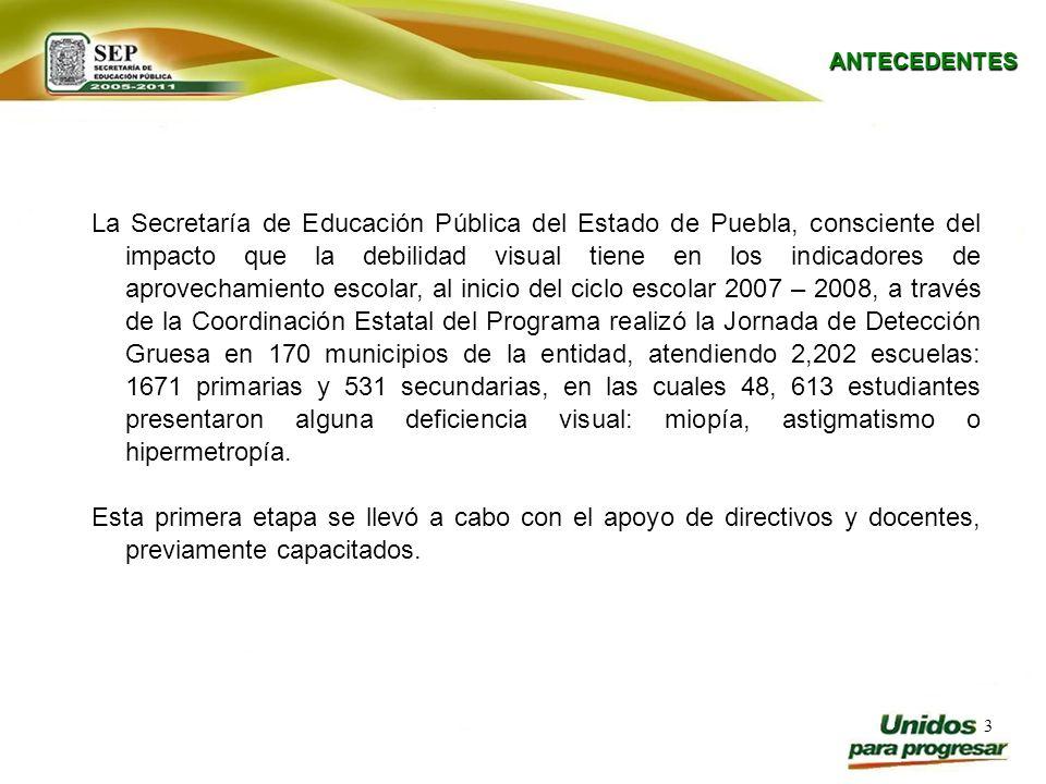 3 ANTECEDENTES La Secretaría de Educación Pública del Estado de Puebla, consciente del impacto que la debilidad visual tiene en los indicadores de apr