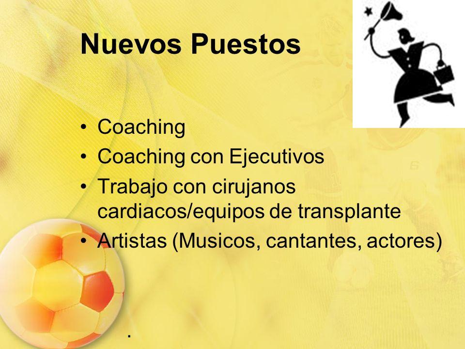 Nuevos Puestos Coaching Coaching con Ejecutivos Trabajo con cirujanos cardiacos/equipos de transplante Artistas (Musicos, cantantes, actores).