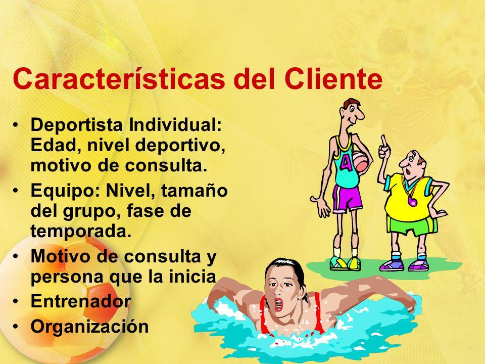 Características del Cliente Deportista Individual: Edad, nivel deportivo, motivo de consulta. Equipo: Nivel, tamaño del grupo, fase de temporada. Moti