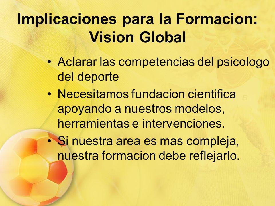 Implicaciones para la Formacion: Vision Global Aclarar las competencias del psicologo del deporte Necesitamos fundacion cientifica apoyando a nuestros