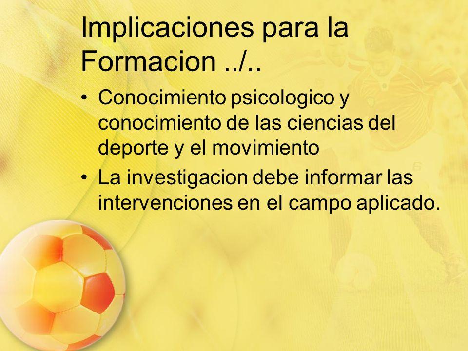 Implicaciones para la Formacion../.. Conocimiento psicologico y conocimiento de las ciencias del deporte y el movimiento La investigacion debe informa