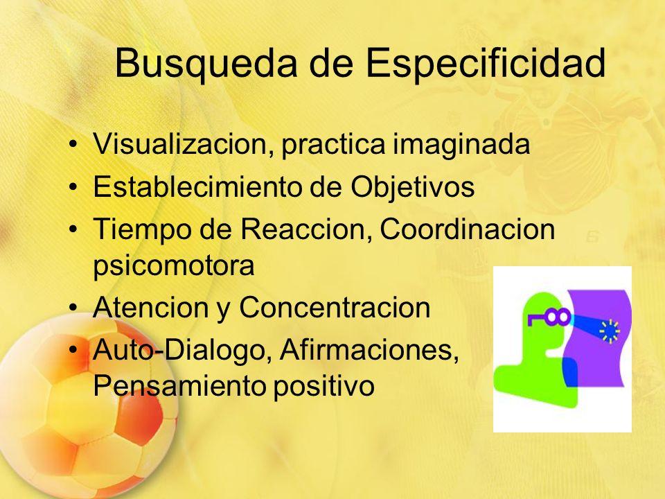 Busqueda de Especificidad Visualizacion, practica imaginada Establecimiento de Objetivos Tiempo de Reaccion, Coordinacion psicomotora Atencion y Conce
