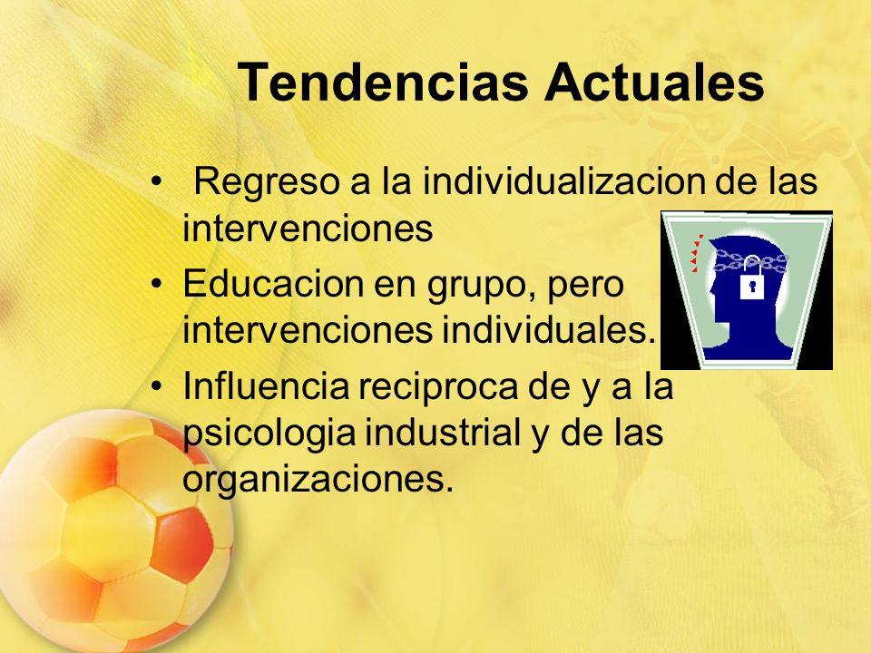 Tendencias Actuales Regreso a la individualizacion de las intervenciones Educacion en grupo, pero intervenciones individuales. Influencia reciproca de