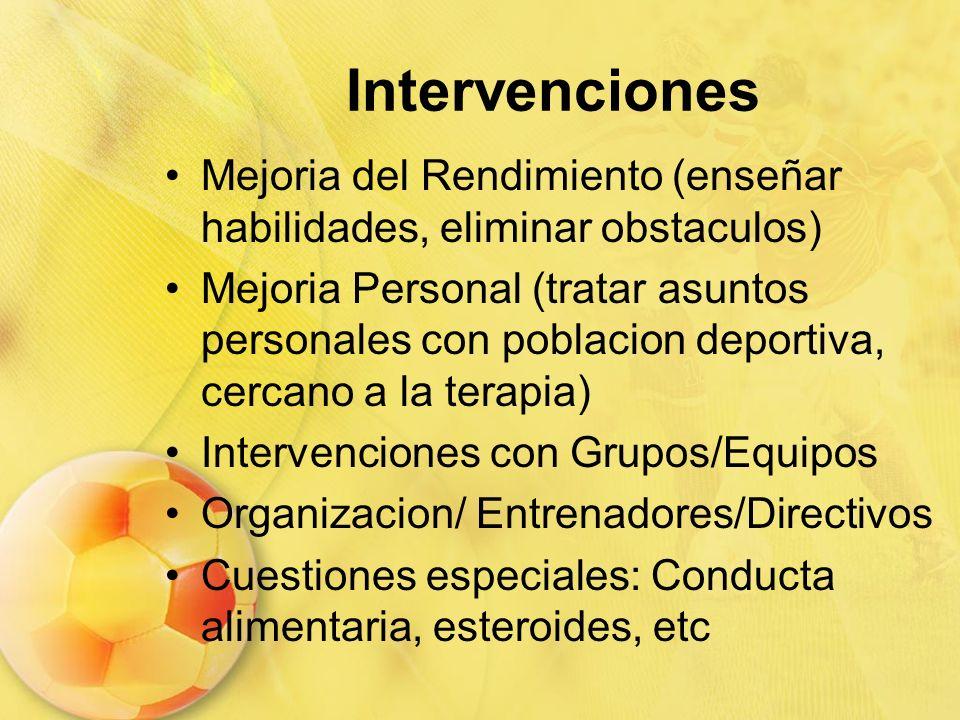 Intervenciones Mejoria del Rendimiento (enseñar habilidades, eliminar obstaculos) Mejoria Personal (tratar asuntos personales con poblacion deportiva,