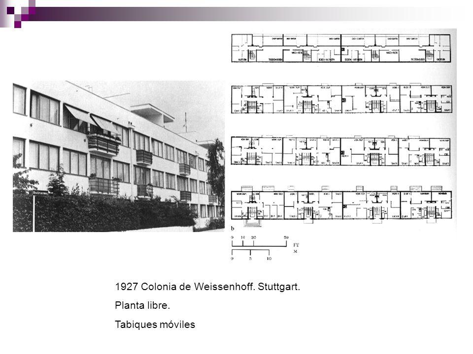 1927 Colonia de Weissenhoff. Stuttgart. Planta libre. Tabiques móviles
