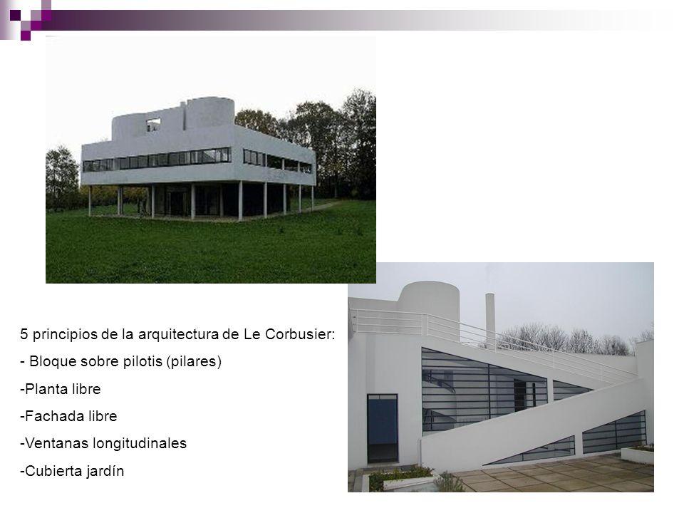 5 principios de la arquitectura de Le Corbusier: - Bloque sobre pilotis (pilares) -Planta libre -Fachada libre -Ventanas longitudinales -Cubierta jard